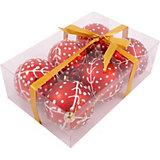 Набор елочных шаров Magic Land красный с белым, 6 штук