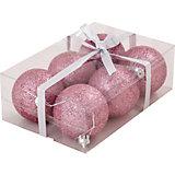 Набор елочных шаров Magic Land розовый, 6 штук