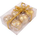 Набор елочных шаров Magic Land золото с белым, 6 штук
