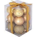 Набор елочных шаров Magic Land золотой, 12 штук