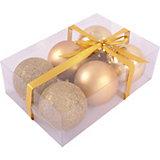 Набор елочных шаров Magic Land золотой, 6 штук