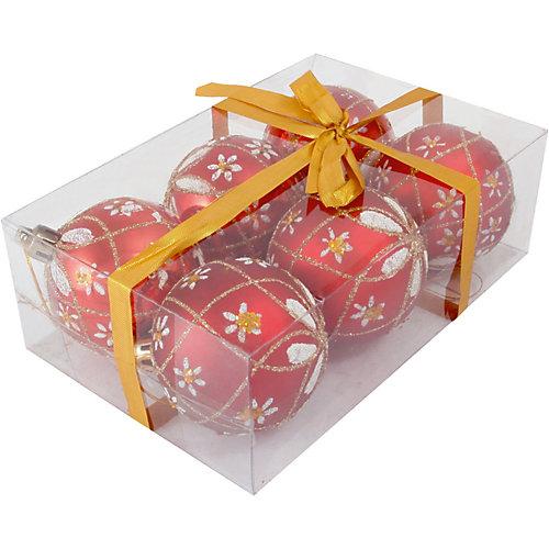 Набор елочных шаров Magic Land красный с белым, 6 штук - разноцветный