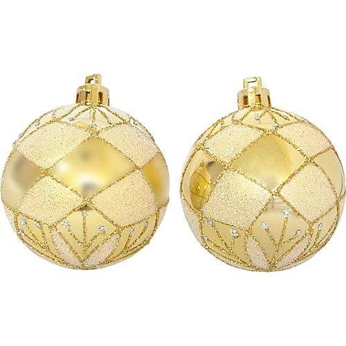 Набор елочных шаров Magic Land золотой, 6 штук - разноцветный
