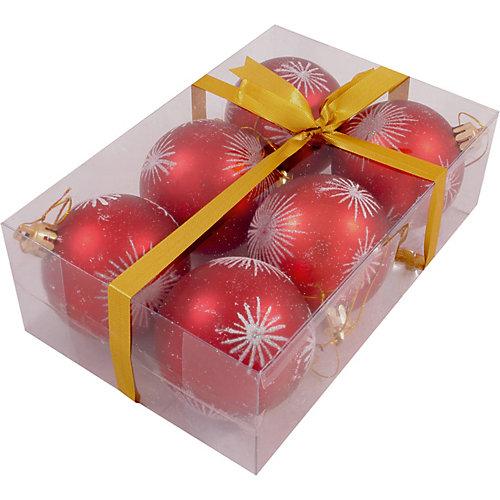 Набор елочных шаров Magic Land красный с белым, 6 штук - разноцветный от Волшебная Страна
