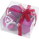 Набор елочных шаров Magic Land фиолетовый с белым, 4 штуки