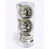 Набор елочных шаров B&H 3 шт, 9 см., серебряные