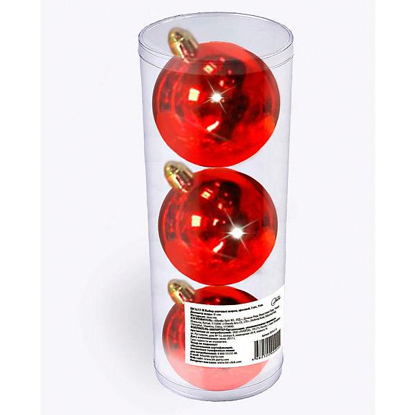 Набор елочных шаров B&H 3 шт, 9 см., красные