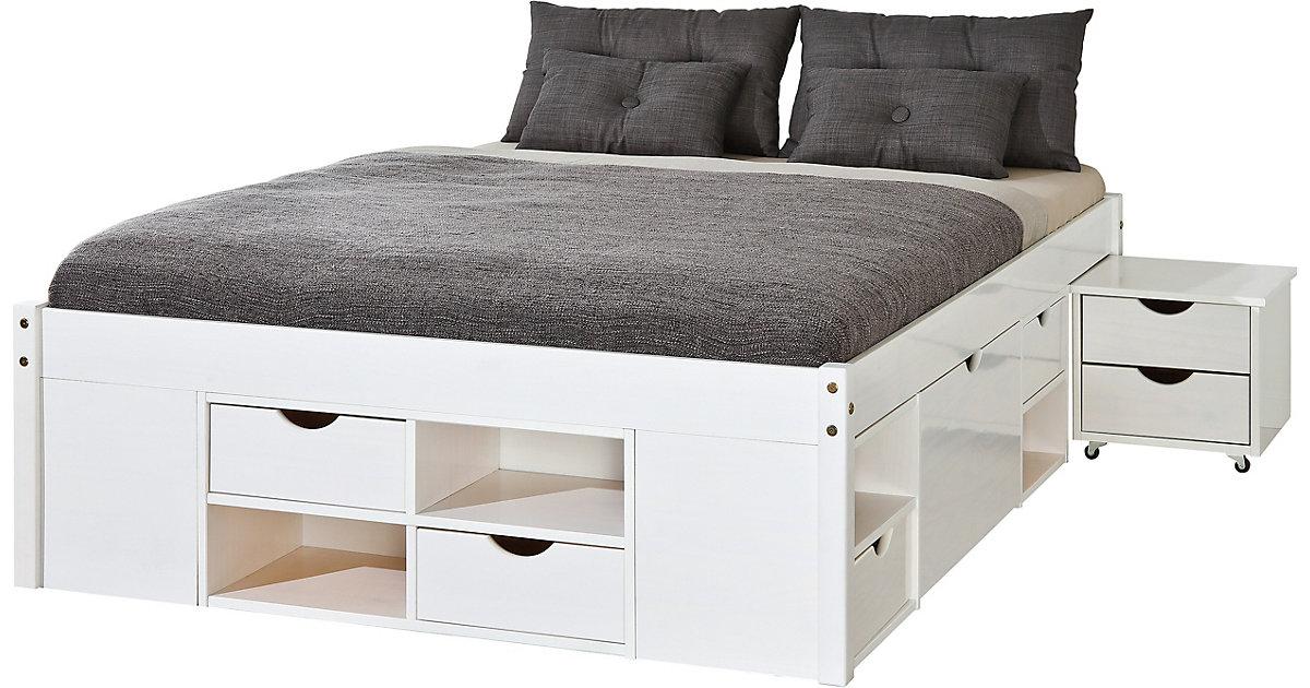 Kiefer Massivholz Funktionsbett mit Schubladen und Nachttisch weiß Gr. 160 x 200