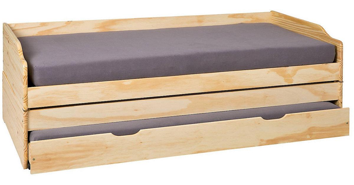 Kiefer Masivholz Sofa-Bett mit 3 Liegeflächen natur Gr. 90 x 200