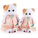 Мягкая игрушка Budi Basa Кошечка Ли-Ли в нежно-розовом платье с птичкой, 24 см