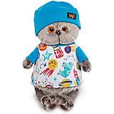 Мягкая игрушка Budi Basa Кот Басик в футболке космос и в шапочке, 22 см