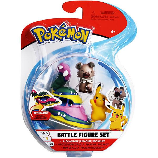 33b2221c629598 Pokémon Battle Figuren 3er-Pack Pikachu, Wuffels und Alola-Sleimog, Pokemon