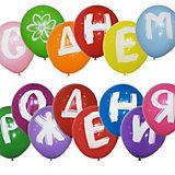 """Воздушные шары Latex Occidental """"Буквы С Днём рождения"""" 14 шт., пастель + декоратор"""
