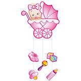 """Подвеска Водолей """"С Днем Рождения, Малыш"""" 75х40 см, розовая"""