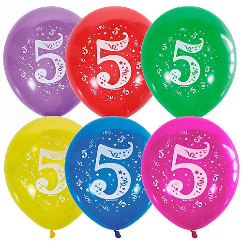 """Воздушные шары Latex Occidental """"Цифра Пять"""" 10 шт, пастель + декоратор - разноцветный от Latex Occidental"""