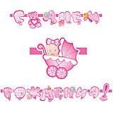 """Гирлянда-буквы Водолей """"С Днем Рождения, Малыш"""" розовая, 260 см"""