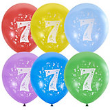"""Воздушные шары Latex Occidental """"Цифра Семь"""" 10 шт, пастель + декоратор"""