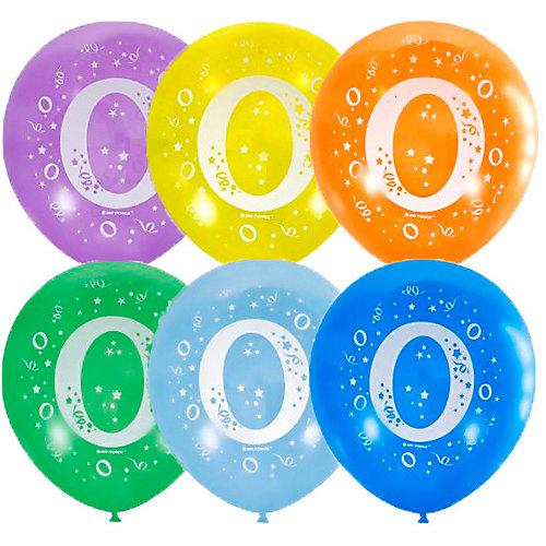 """Воздушные шары Latex Occidental """"Цифра Ноль"""" 10 шт, пастель + декоратор - разноцветный от Latex Occidental"""