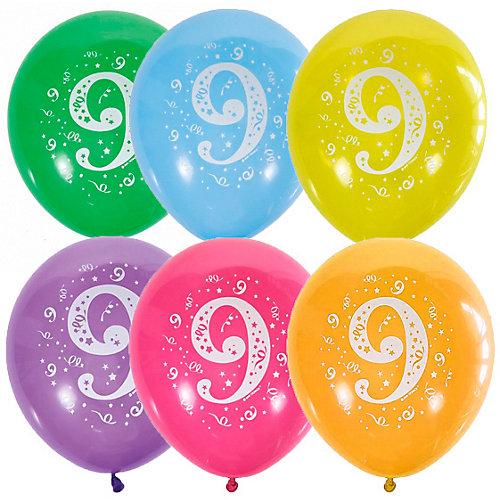 """Воздушные шары Latex Occidental """"Цифра Девять"""" 10 шт, пастель + декоратор - разноцветный от Latex Occidental"""