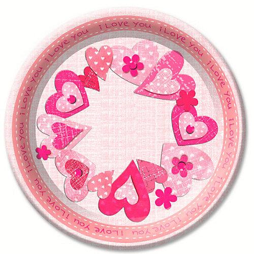 "Тарелки Патибум ""Сердечки I love you"" 6 шт., 23 см - разноцветный от Патибум"