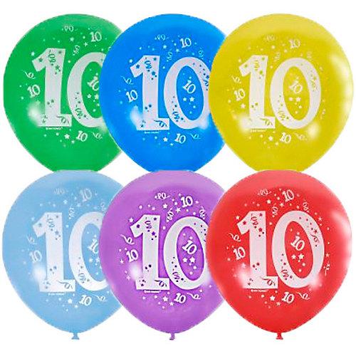 """Воздушные шары Latex Occidental """"Цифра Десять"""" 10 шт, пастель + декоратор - разноцветный от Latex Occidental"""