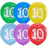 """Воздушные шары Latex Occidental """"Цифра Десять"""" 10 шт, пастель + декоратор"""