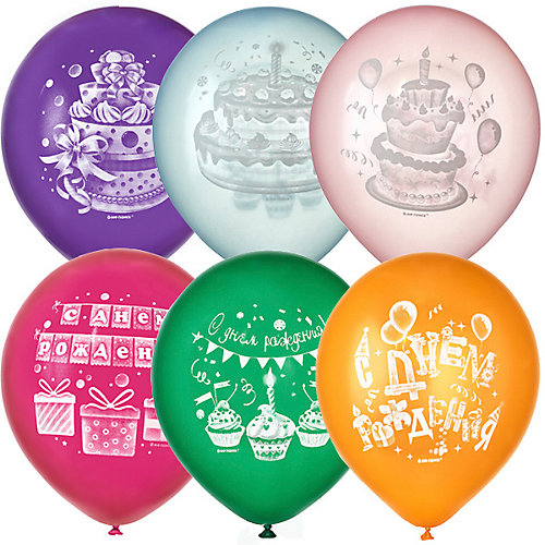 """Воздушные шары Latex Occidental """"Торт С Днём Рождения"""" 50 шт, металлик - разноцветный от Latex Occidental"""