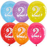 """Воздушные шары Latex Occidental """"Цифра Два"""" 10 шт, пастель + декоратор"""