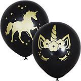 "Воздушные шары Latex Occidental ""Единорог Black"" 25 шт, металлик"