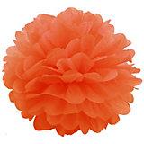 Помпон бумажный Патибум 40 см, оранжевый