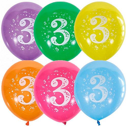 """Воздушные шары Latex Occidental """"Цифра Три"""" 10 шт, пастель + декоратор - разноцветный от Latex Occidental"""