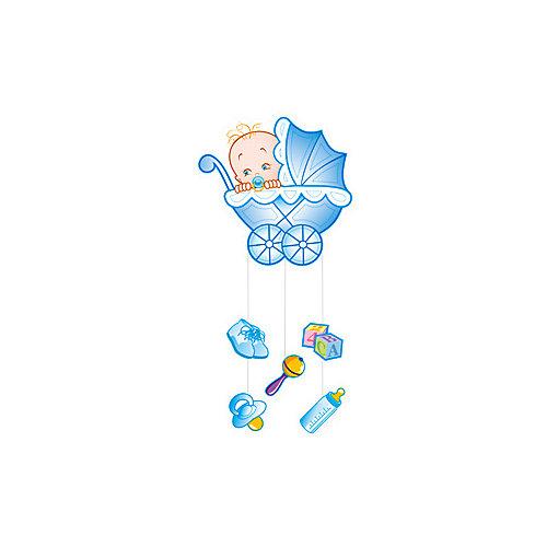 """Подвеска Водолей """"С Днем Рождения, Малыш"""" 75х40 см, голубая - разноцветный от Патибум"""