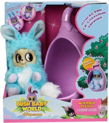 """Интерактивная мягкая игрушка 1Toy Bush baby world """"Пушистики"""" со спальным коконом, Адеро, 17 см"""