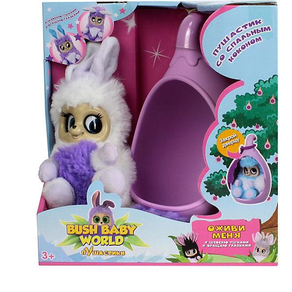 """Интерактивная мягкая игрушка 1Toy Bush baby world """"Пушистики"""" со спальным коконом, Аби, 17 см"""