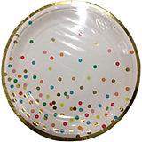 Тарелки Феникс-Презент Белые с разноцветными кружочками, 23 см, 6 шт.