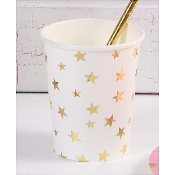 Стаканы Феникс-Презент Белые с золотыми звездами, 250 мл, 6 шт.