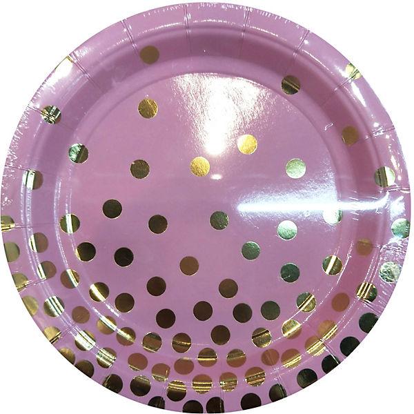 Тарелки Феникс-Презент Розовые с золотыми кружочками, 18 см, 6 шт..