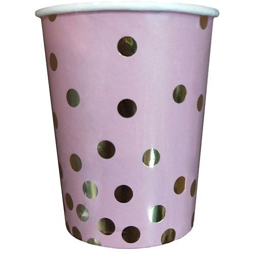 Стаканы Феникс-Презент Розовые с золотыми кружочками, 250 мл, 6 шт. от Феникс-Презент