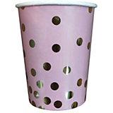 Стаканы Феникс-Презент Розовые с золотыми кружочками, 250 мл, 6 шт.