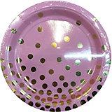 Тарелки Феникс-Презент Розовые с золотыми кружочками, 23 см, 6 шт.