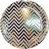 Тарелки Феникс-Презент Белые с золотыми зигзагами, 23 см, 6 шт.