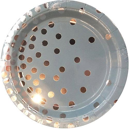 Тарелки Феникс-Презент Голубые с серебряными кружочками, 23 см, 6 шт. от Феникс-Презент