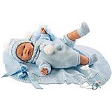 Кукла-пупс Llorens Жоель в голубом 38 см, со звуком