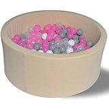 """Сухой игровой бассейн Hotenok """"Розовый жемчуг"""" 40 см, 200 шариков"""
