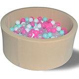 """Сухой игровой бассейн Hotenok """"Ванильное мороженое"""" 40 см, 200 шариков"""