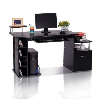Computertisch in Nussbaum-Nachbildung schwarz
