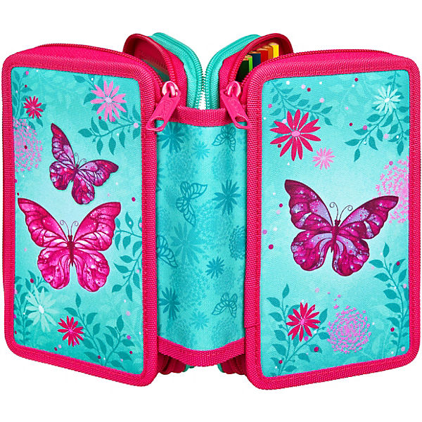 8122f8ecd81f3 Triple-Federmäppchen Butterfly